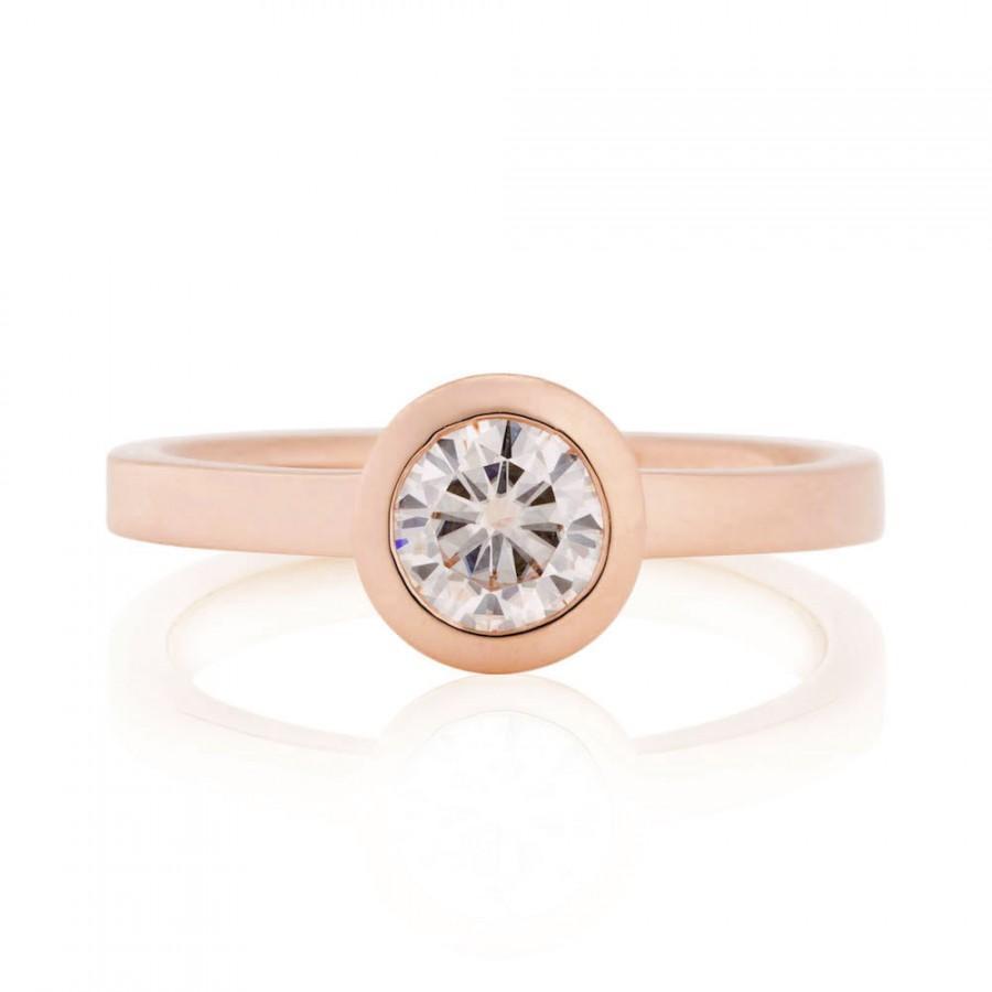 Wedding - Moissanite Engagement Ring, 14K Rose Gold Bezel Engagement Ring, Peek-a-boo Bezel Ring