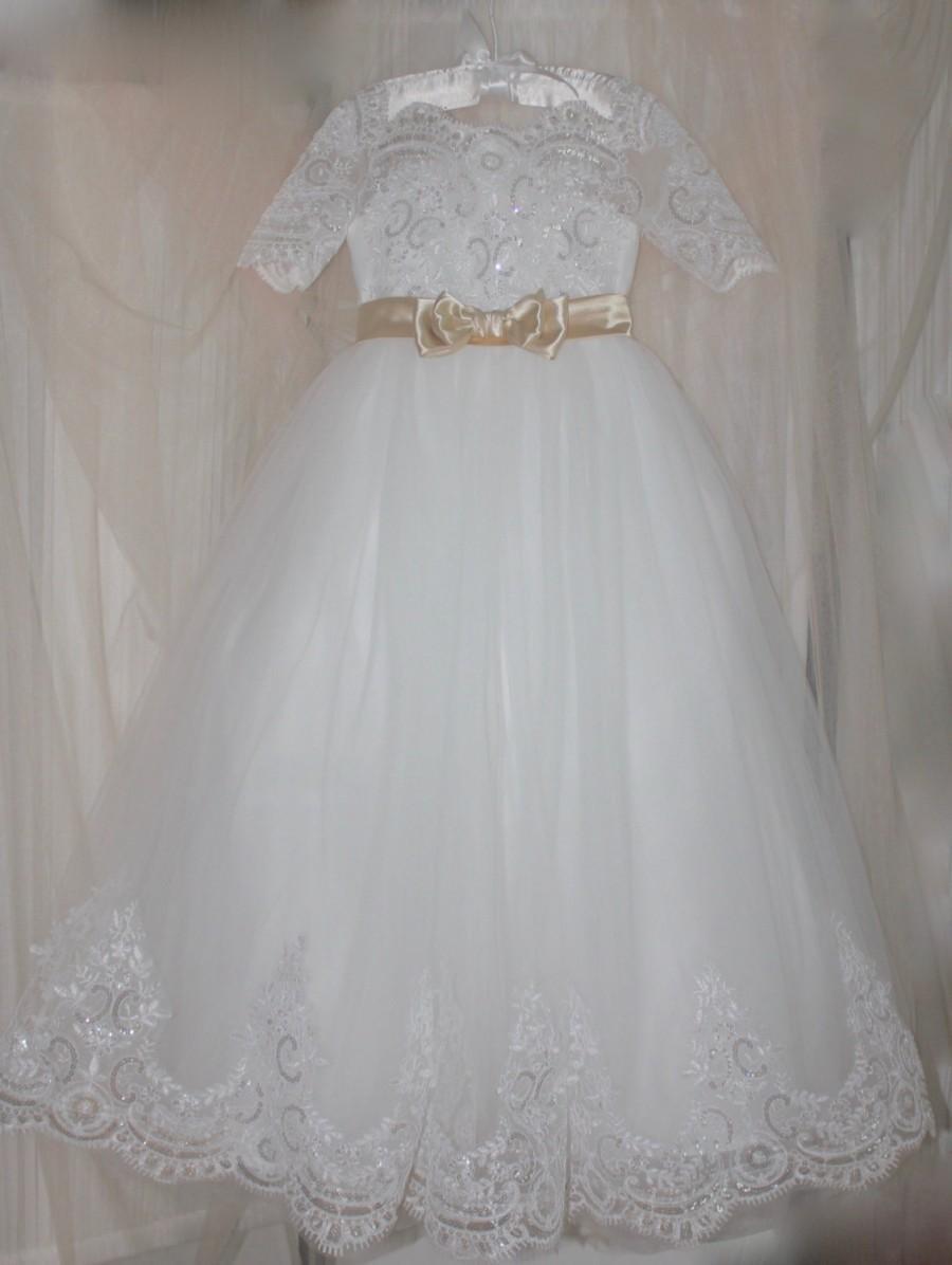 Wedding - Princess Flower Girl Dress, Lace Flower Girl Dresses, Flower Girl Dress, Custom Wedding Dresses, Tutu Skirt Girls Dress, HandMade in USA