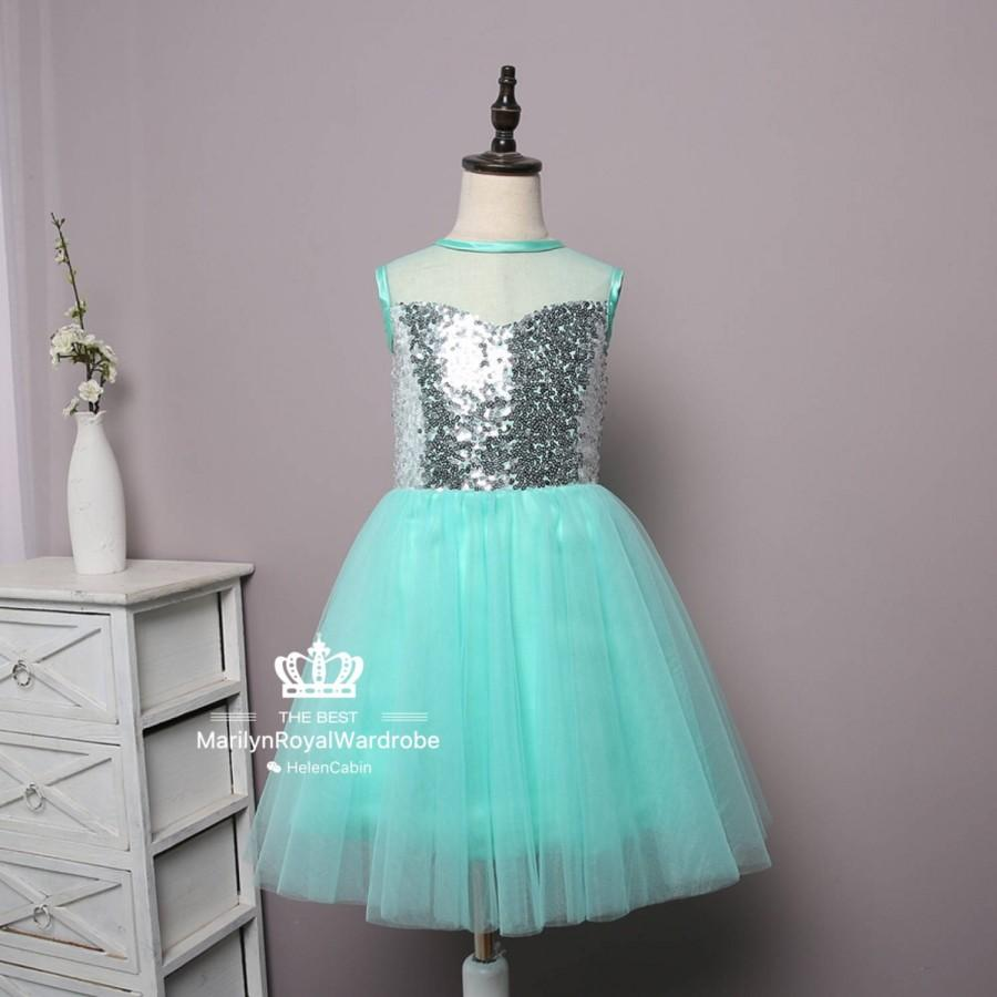 Silver Sequin Light Turquoise Tulle Glitter Flower Girl Knee Length ...