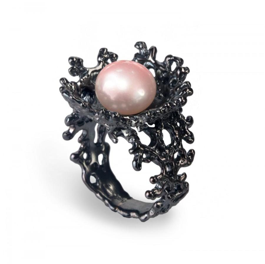 Wedding - CORAL Flower Pink Pearl Ring, Black Ring, Black Engagement Ring, Pink Pearl Engagement Ring, Alternative Flower Ring