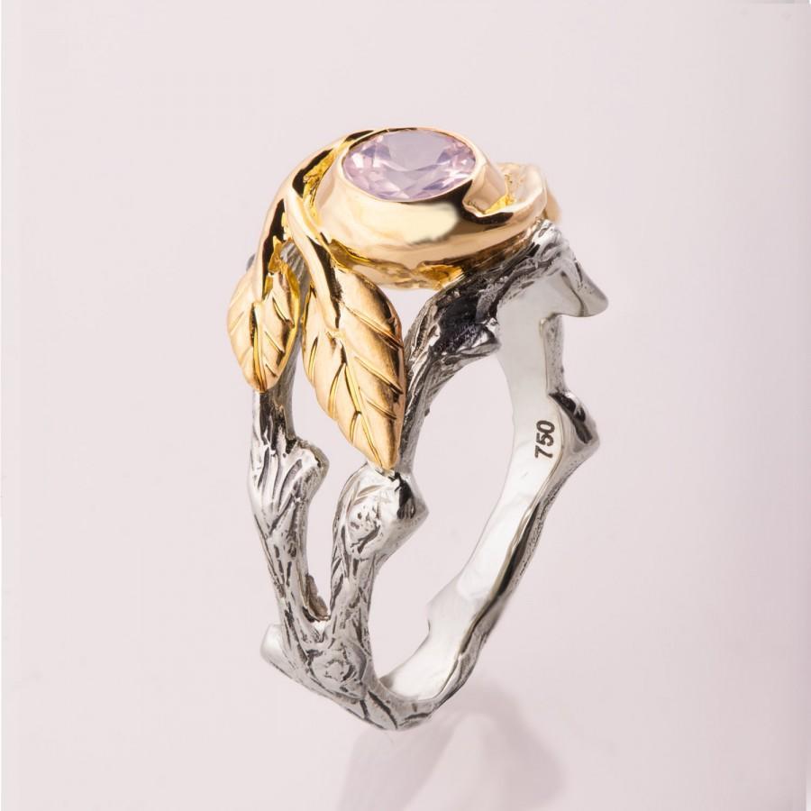 Wedding - Rose Quartz engagement ring, Unique Engagement ring, Rose Quartz Ring, Rose Quartz Twig Ring, Twig and Leaf Engagement Ring, Rose Quartz, 8