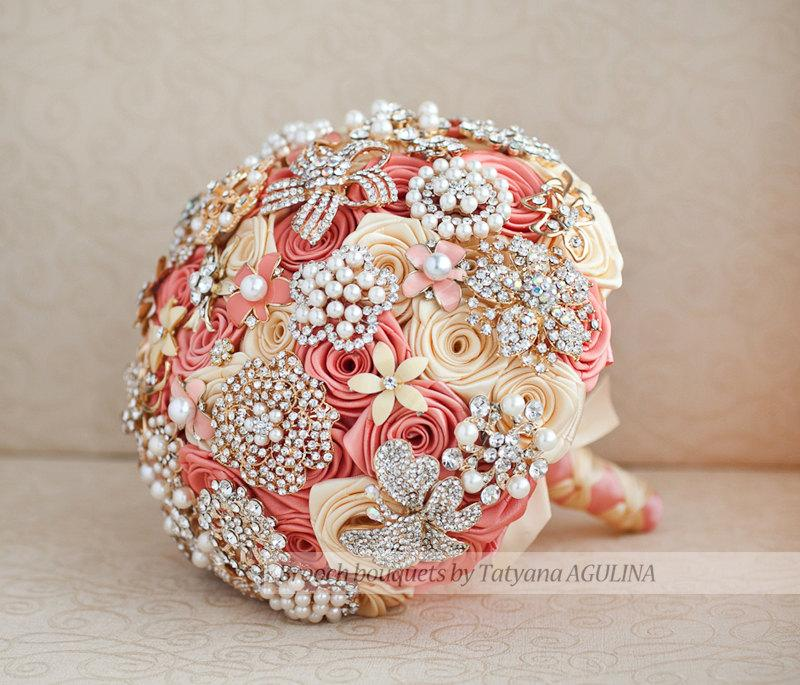 Mariage - FULL PRICE! Brooch bouquet. Coral and Yellow wedding brooch bouquet, Jeweled Bouquet. Made upon request