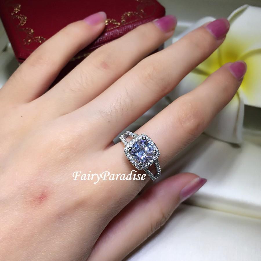 Wedding - 2 Carat Cushion Cut Halo Engagement Ring, Man Made Diamond Sterling Silver Promise Rings set in Split Shank, Free Gift Box (Fairy Paradise)