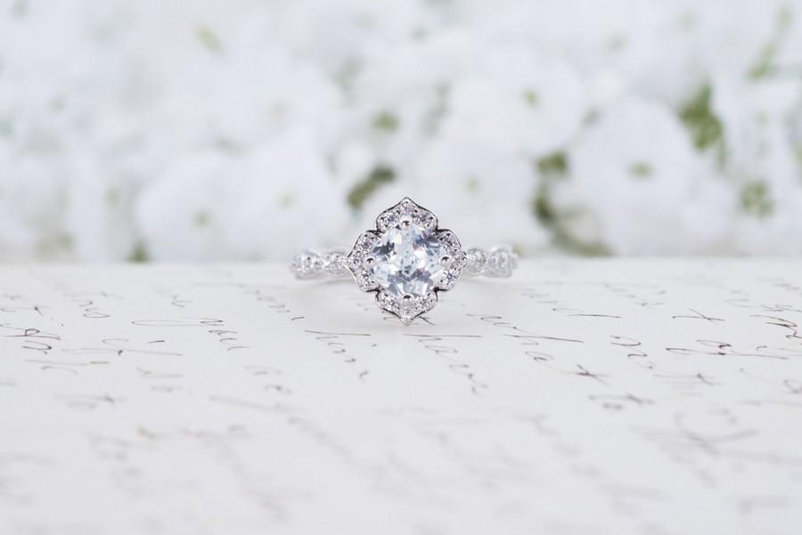 Mariage - Art Deco Engagement Ring - Cushion Cut Ring - Floral Engagement Ring - Wedding Ring - Promise Ring - Flower Ring - Sterling Silver