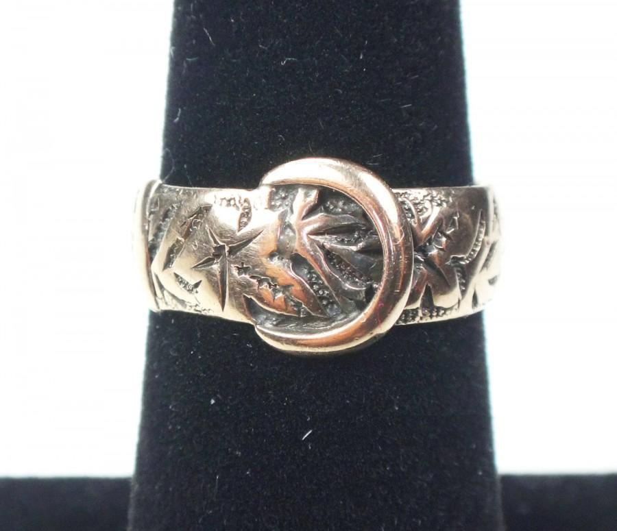 Wedding - Antique Gold Wedding Band Victorian Buckle Ring Gold Wedding Band Vintage Wedding Ring Bridal 1800's Ivy Leaf Buckle Ring 9k Hallmarked