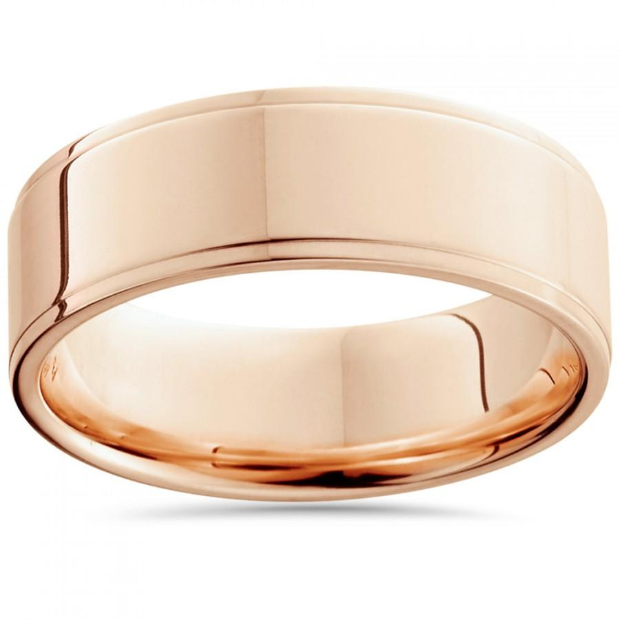 Wedding - 6MM 14K Rose Gold Mens Ring High Polished Step Cut Flat Wedding Band Rose Gold Mens Ring 14K Rose Gold Plain Wedding Band Rose Gold Step Cut