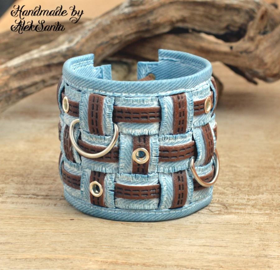 Свадьба - Boho bracelet Cuff bracelet denim bracelet Hippie bracelet Light blue bracelet Chunky bracelet Everyday bracelet Polymer clay jewelry .nsm