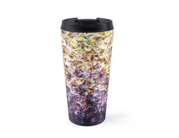 Mariage - Abstract Art Coffee Mug, 15oz Stainless Steel Travel Mug, Yellow Purple Coffee Travel Cup, Expressionist Art Water Bottle, Pretty Tea Cup