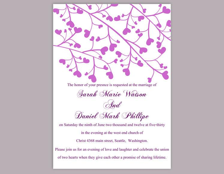 Wedding - Wedding Invitation Template Download Printable Wedding Invitation Editable Invitation Purple Wedding Invitation Heart Invitation Invites DIY - $6.90 USD