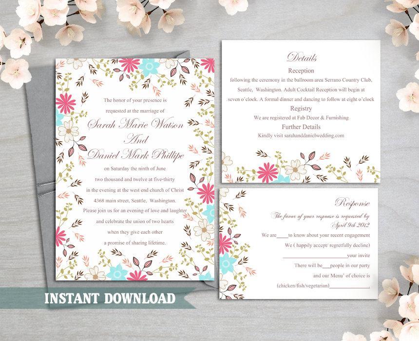 Hochzeit - Wedding Invitation Template Download Printable Wedding Invitation Editable Invitation Floral Boho Wedding Invitation Colorful Invitation DIY - $15.90 USD