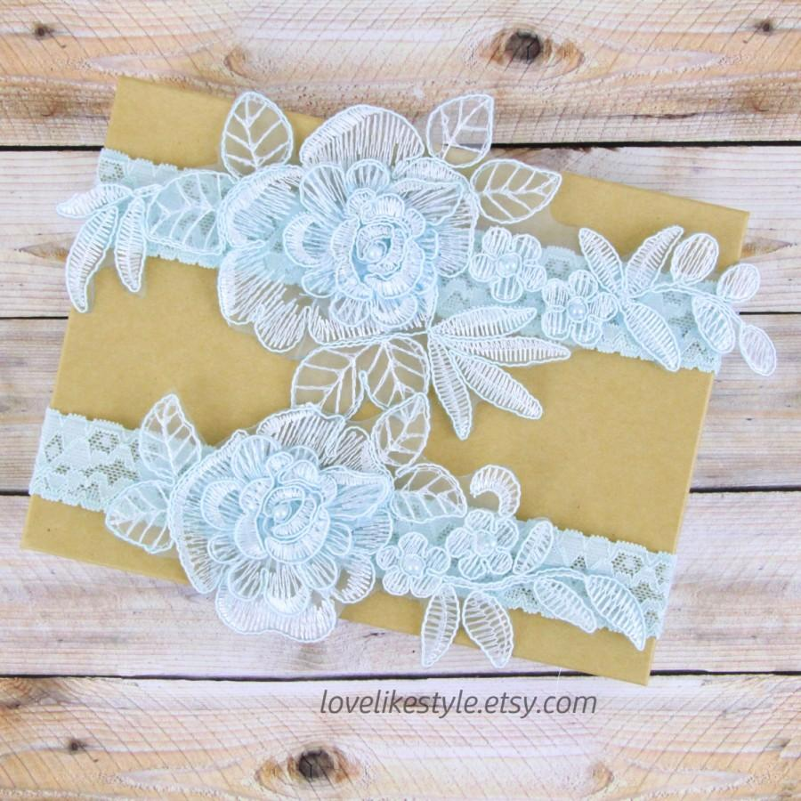 Mariage - Something Blue, Light Blue  Pearl Beaded Lace Wedding Garter Set, Blue  Lace Garter Set, Toss Garter , Keepsake Garter/ GT-15B