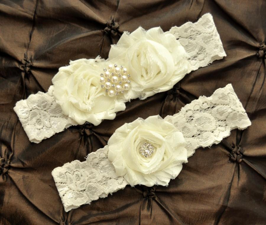 Mariage - Wedding Garter, Bridal Garter - Ivory Lace Garter, Toss Garter, Shabby Chiffon Rosette Ivory Wedding Garter, Ivory Garter Wedding