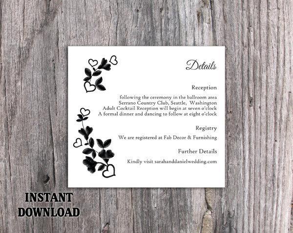 زفاف - DIY Lace Wedding Details Card Template Download Printable Wedding Details Card Floral Boho Details Card Black Rustic Enclosure Cards Vintage - $7.90 USD