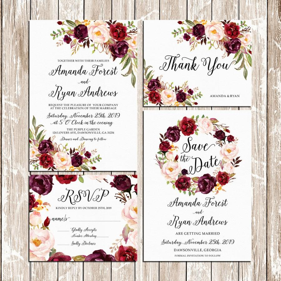 Printable Wedding Burgundy Purple And Pink Invitation Set Boho ...