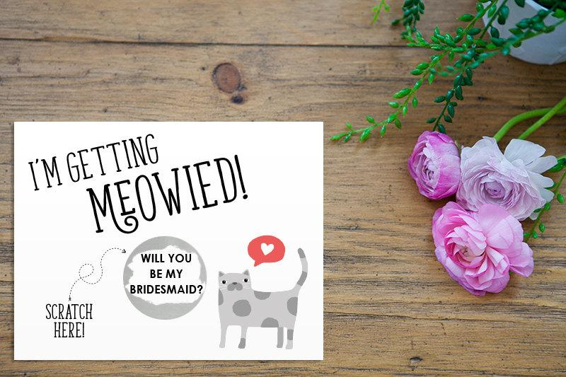 Wedding - Scratch Off Silver I'm Getting Meowied Card - Maid of Honor, Matron of Honor, Bridesmaid Ask Card Cat Lovers with Metallic Envelope