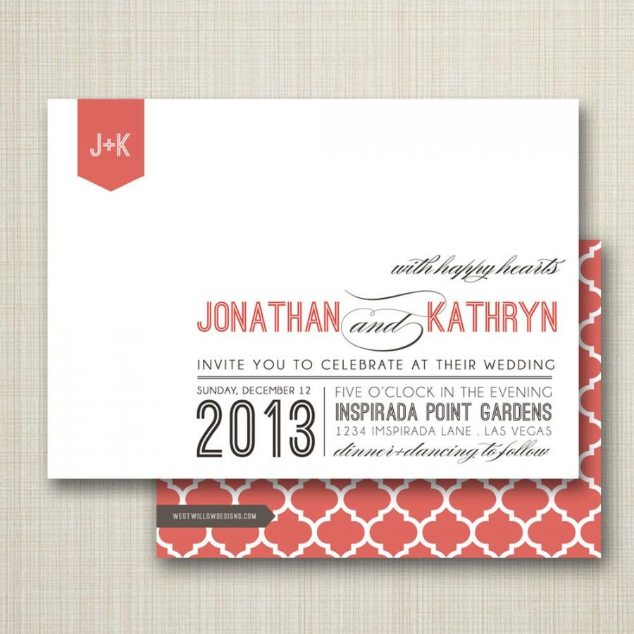 Wedding - wedding invitation, custom wedding invitation, modern wedding invitations, typography wedding invitation - happy hearts.