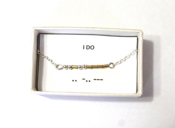 Wedding - I DO Morse Code Bracelet, Morse Code Bracelet, Secret messag, Bridal Jewelry, Wedding day bracelet, Bride Gift, Gold Filled, Sterling Silver