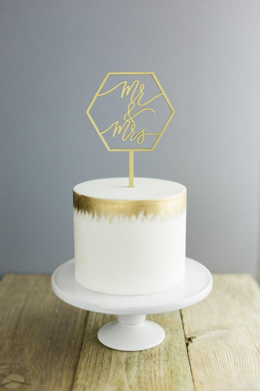 Wedding - Mr & Mrs Geometric Laser Cut Gold Wedding Cake Topper - hand drawn and made of wood
