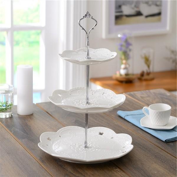 Mariage - Beter Gifts® Ceramic 3 Tier Cake Stand Tower Dishware BETER-HH124 #WeddingDecor #cakestand #caketower #cakedishware