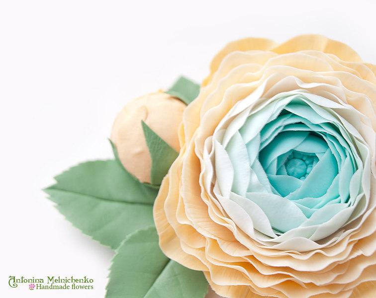 Mariage - Hair clip Ranunculus - Polymer Clay Flowers - Wedding Accessories