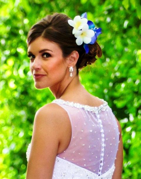 Mariage - BRIDAL Hair clip, Tropical hair flower, Blue Orchids, Hawaiian flowers, Wedding headpiece, Custom bridal, silk Flower clip, hair accessory