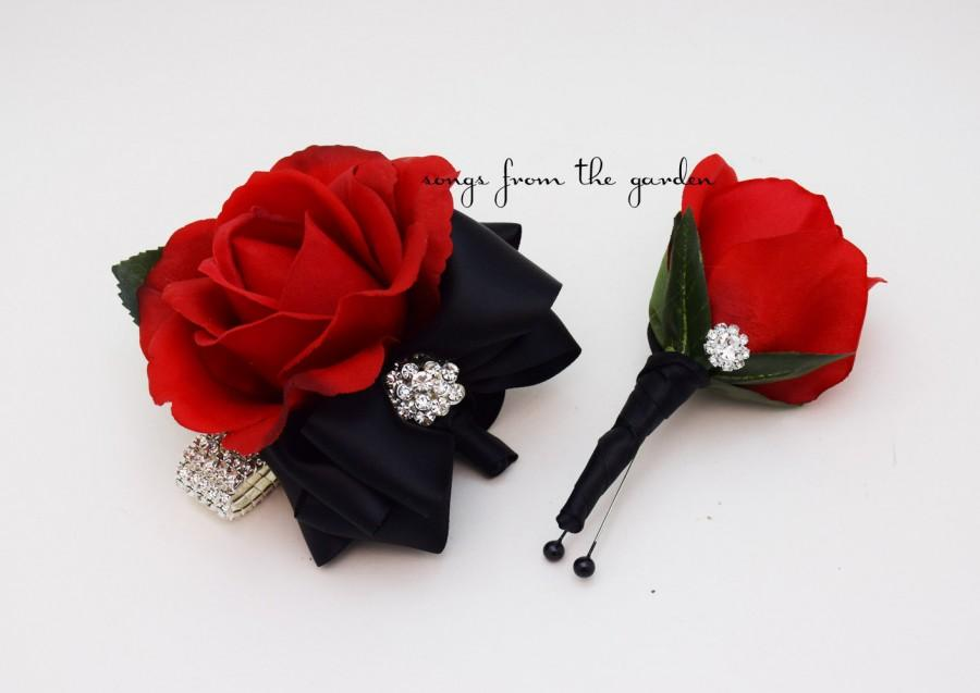 Corsage Black And Red With Rhinestones Real Touch Rose Wedding ...