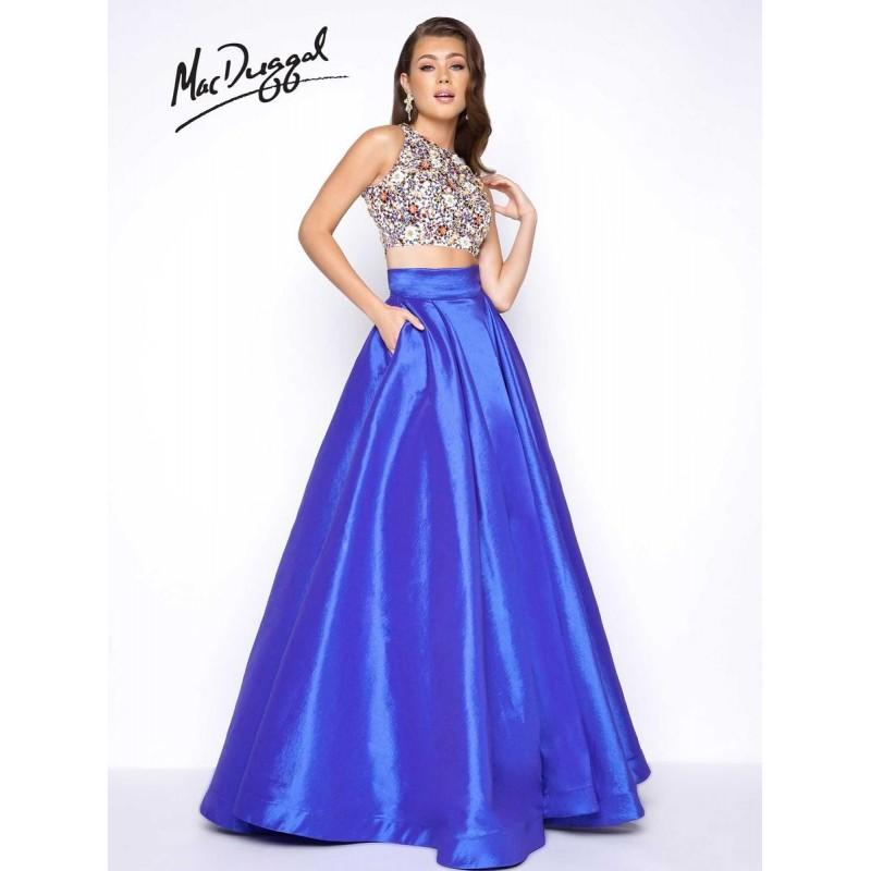 Wedding - Mac Duggal Prom 85640M Royal/Multi,Black/Multi Dress - The Unique Prom Store
