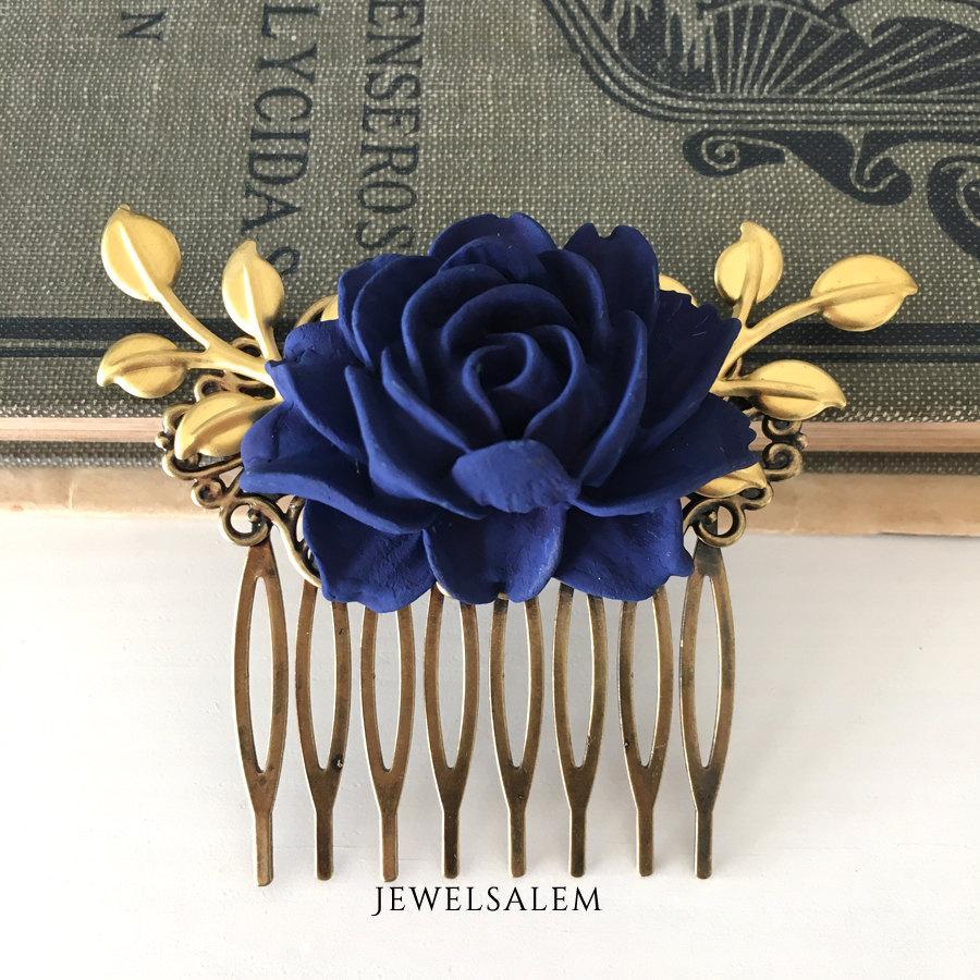 Mariage - Wedding Hair Comb Bridesmaids Hair Accessories Navy Blue Flower Gold Leaves Dark Blue Bridal Headpiece