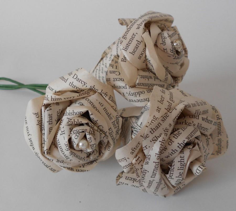 Mariage - Set of 3 wedding Paper book flowers Pride and Prejudice