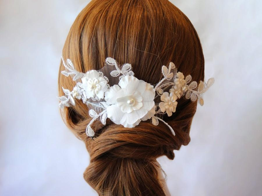 Свадьба - Lace Hair Comb, Wedding Hair Accessory, Flower & Pearl Headpiece, Romantic Wedding, Bridal, ALANA