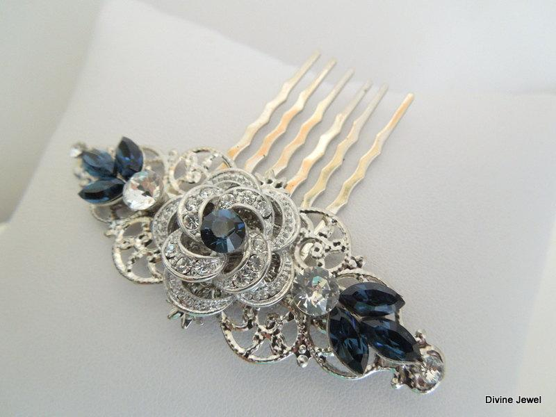 Mariage - Bridal Blue Swarovski Crystal Wedding Comb Wedding Hair Accessories Vintage Style Leaf Rhinestone Bridal Hair swarovski hair Comb ROSELANI