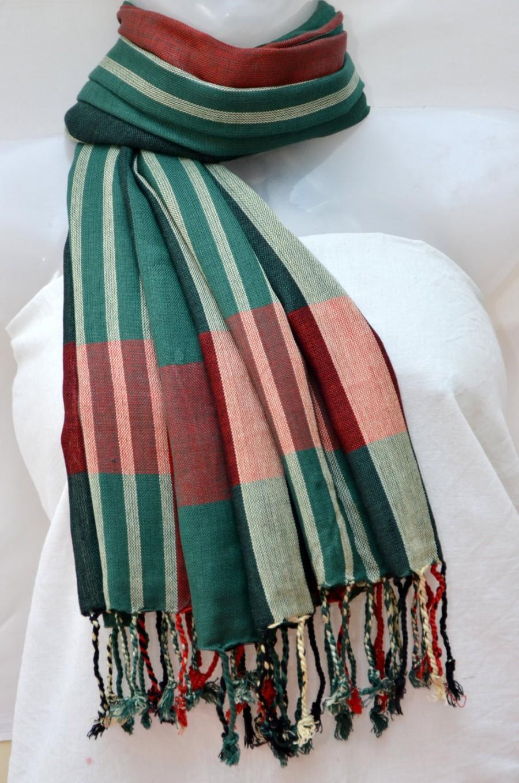 Men Women Scarf Green Red Gift For All Tartan Plaid Indian Tel Scarves Soft Light Weight Wedding Season Uk