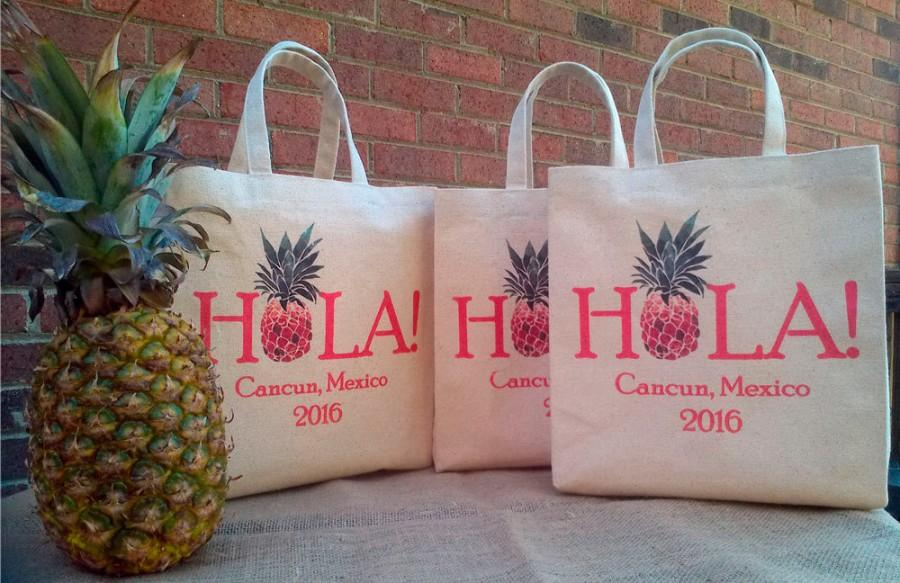 Mariage - Set of 20 Hola Pineapple Wedding Welcome Bag for Hotel Wedding Guests, Wedding Favor, Canvas, Custom Printed Eco-friendly Canvas