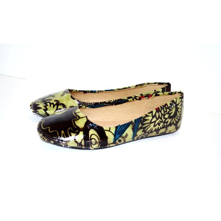 Wedding - Olive African Print Shoes,Luxury Bridal Flats, Wedding Shoes, Prom Party Shoes