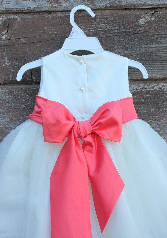 Mariage - Coral color dress Ivory Flower Girl dress Coral color bow sash pageant petals wedding bridal children bridesmaid toddler elegant