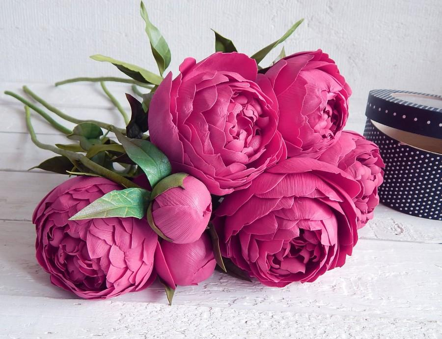 Свадьба - Dark pink bouquet, Peonies arrangement, Wedding floral decor, Artificial realistic flowers in vase, Real touch fake peony, Table centerpiece - $95.00 USD