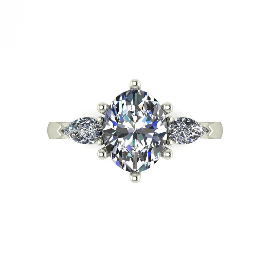 Свадьба - Vintage Pear Cut Moissanite Engagement Ring in 9 Carat White Gold