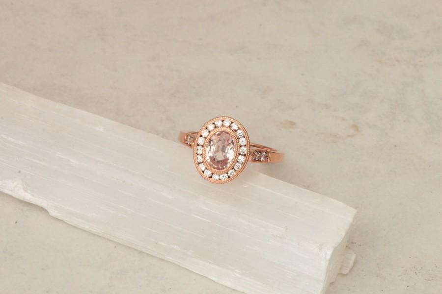Mariage - Peach Sapphire Rose Gold Vintage Style Engagement Ring in Diamond Halo Wedding Ring