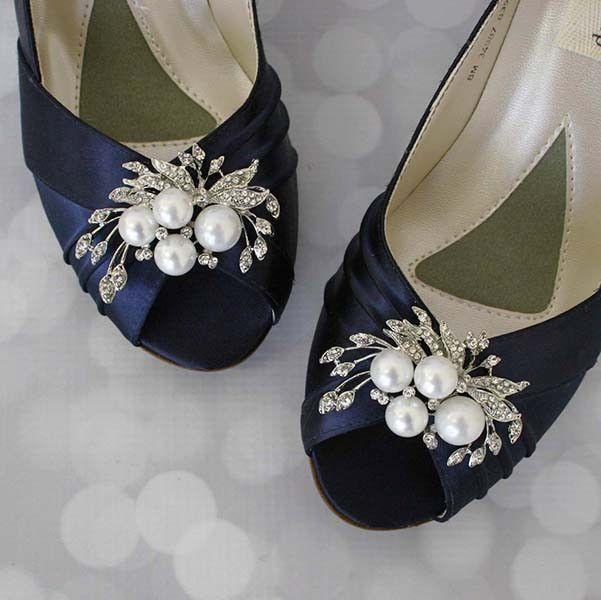 Boda - Navy Blue Peep Toe Wedding Shoes With Pearl And Rhinestone Adornment