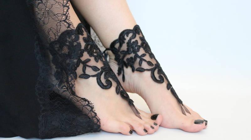 75f90814ff88a Black Lace Barefoot Sandals Lace Barefoot Sandals Woman Boho Sandals ...