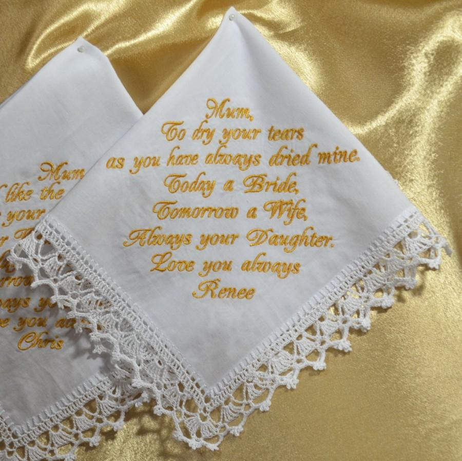 Mariage - Wedding Handkerchief Gift for Mother of the bride from the Bride Personalized hankie Wedding gift for Mom from daughter Custom Hanky in law - $18.00 USD