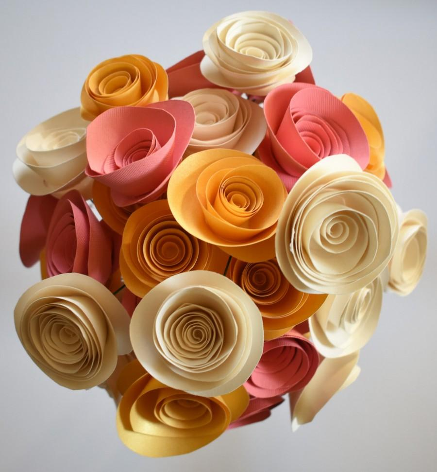 Свадьба - Coral, Ivory, and Gold Paper Flower Bouquet, Alternative Wedding Bouquet, Paper Roses with Stems
