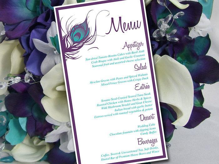 peacock wedding menu template entree card printable wedding
