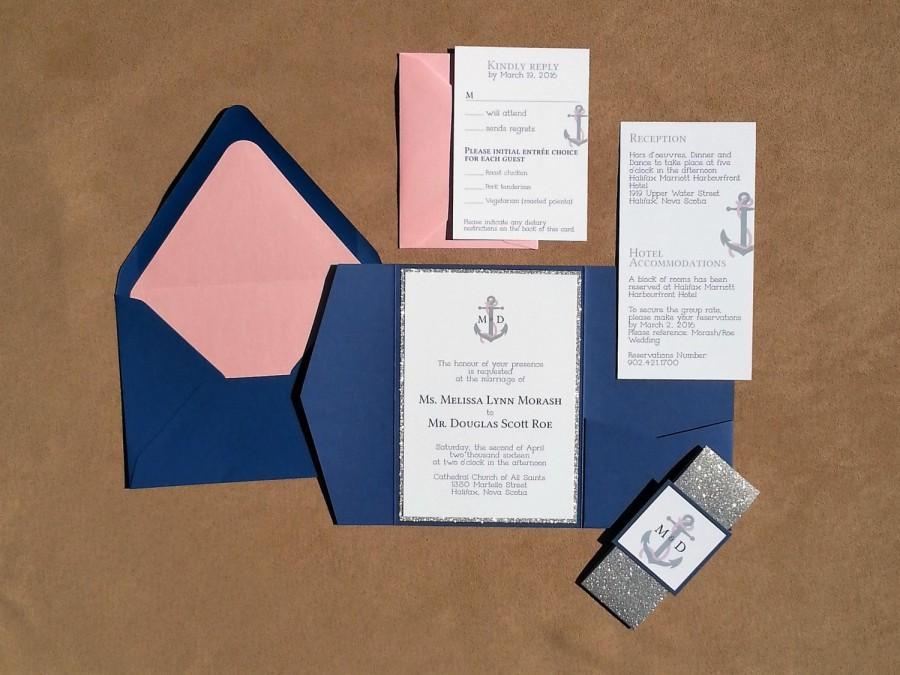 Свадьба - Nautical Pocket Folder Wedding Invitations