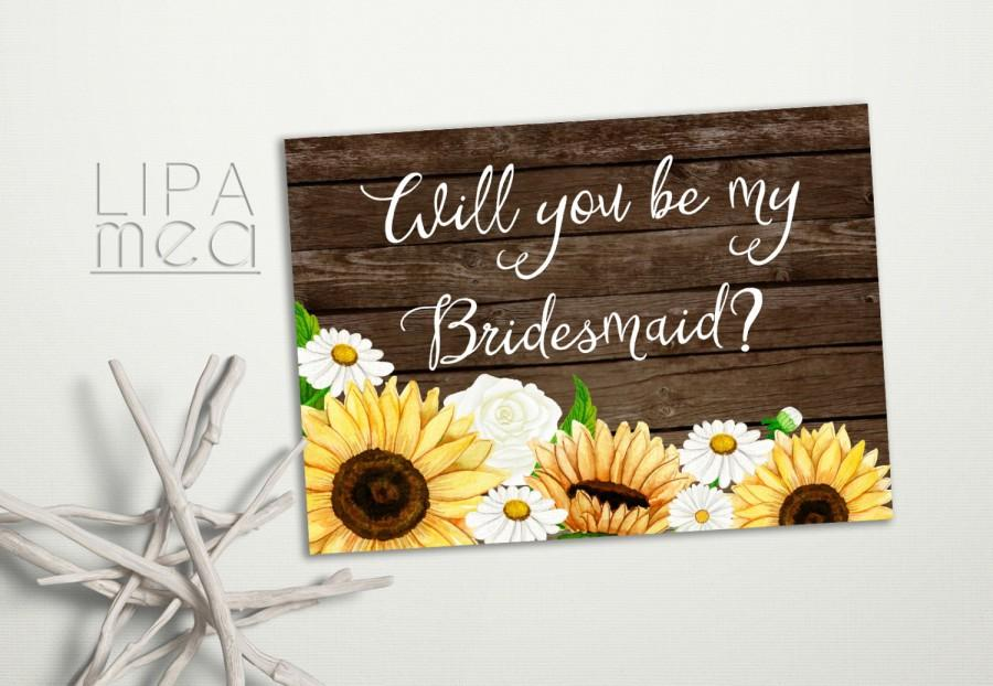 Mariage - Rustic Bridesmaid Card, Will you be my Bridesmaid, Sunflower Bridesmaid Card, Floral Bridesmaid Card, Daisy Bridesmaid Card Printable