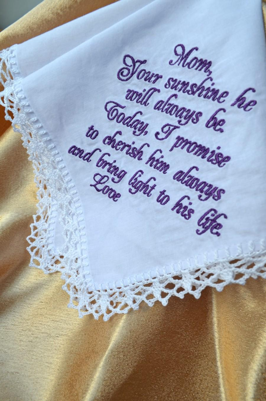 Mother Of The Groom Gift From Bride Wedding Handkerchief For Mother ...