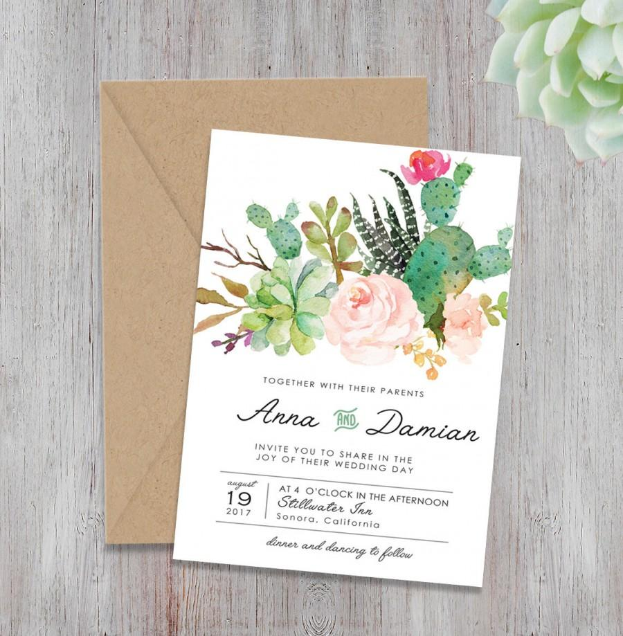 Bohemian Wedding Invite Set, Floral Wedding Invitations, Peach And ...