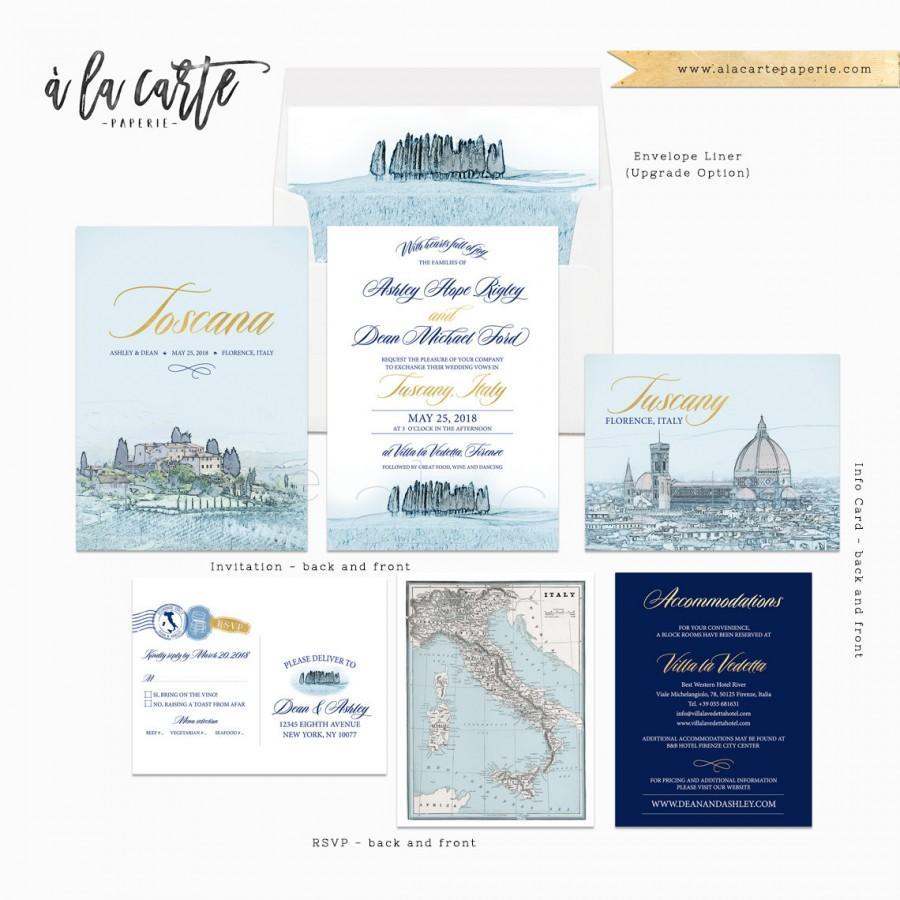 Wedding - Destination wedding invitation Tuscany Florence Italy Navy Gold - customizable European Illustrated Wedding Invitation Suite Deposit Payment