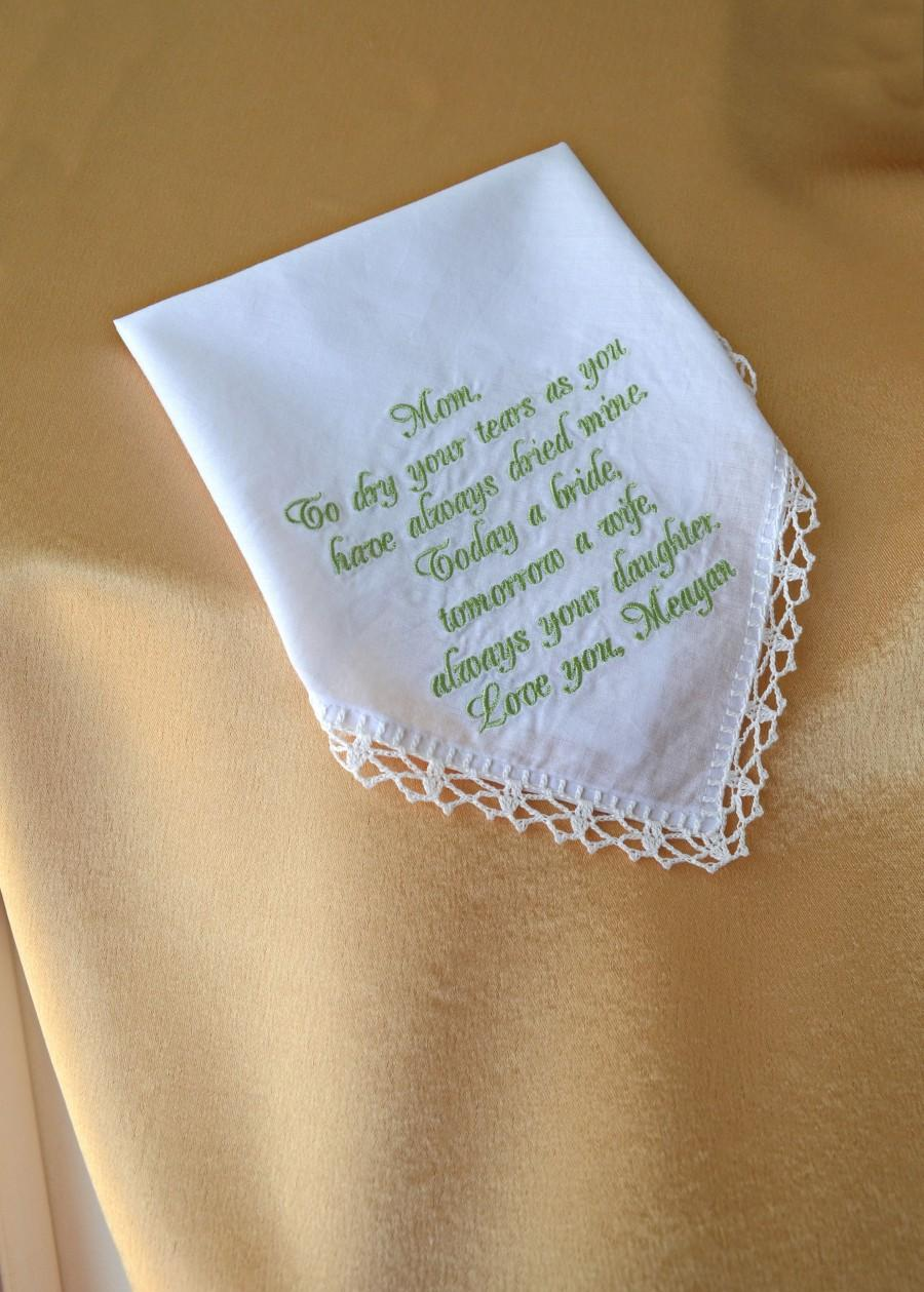 Hochzeit - Mother of the bride gift from daughter Wedding gift for mom from daughter gift for mother of the bride gift wedding handkerchief for mom - $17.86 USD