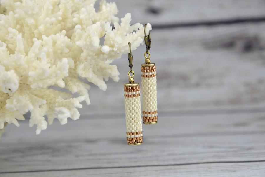 Mariage - Bridal Earrings Wedding earrings Beige earrings for women bridal jewelry Beaded earrings dangle earrings Tube earrings Seed Bead Earrings - $24.77 USD